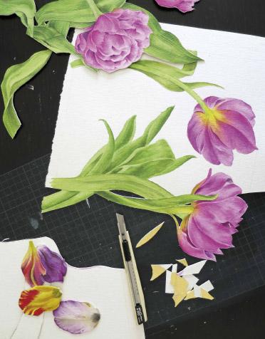 Kunst Tulpenbild in Progress