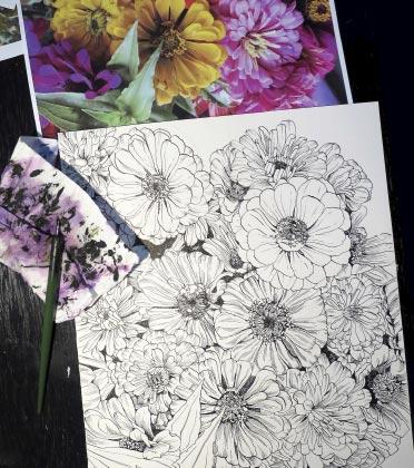 Eine Blume Tuschezeichnung